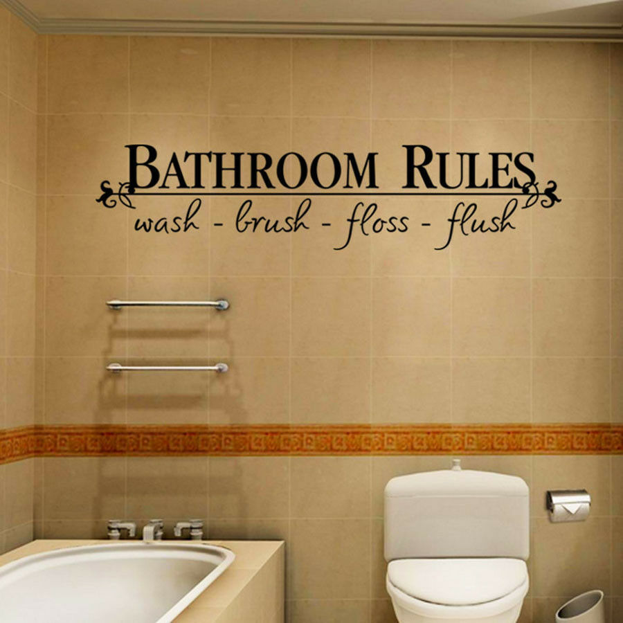 Home Decoration - Removable DIY Wall Sticker Bathroom Rules Mural Home Decal Decor Decorative