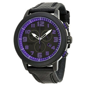 Citizen Drive Black and Purple Chronograph Dial Leather Mens Watch AT2235-00E
