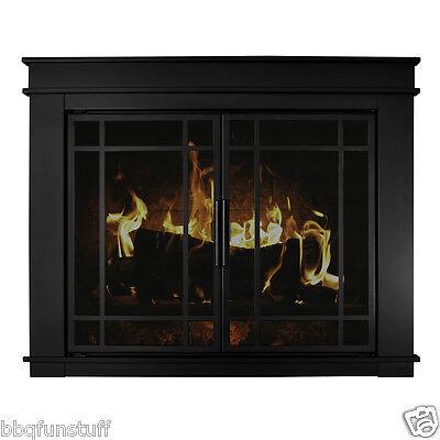 Fireplace Screens Doors - Pleasant Hearth Fillmore Glass Fireplace Door Midnight Black w/Door Screens Med