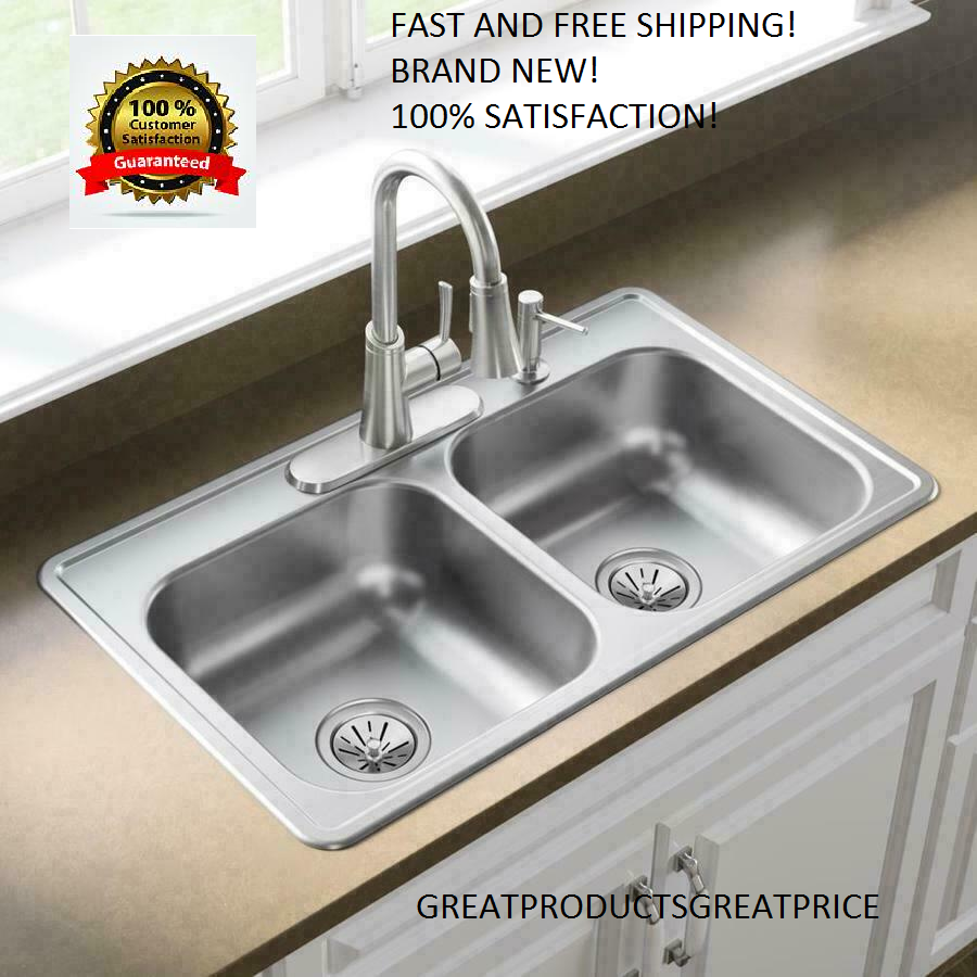 Details About Drop In Sink 33 X 19 Stainless Steel Double Basin 4 Hole Kitchen