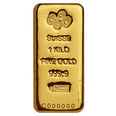 1 Kilo Gold Bar PAMP Suisse .9999 Fine (Cast, w/Assay)