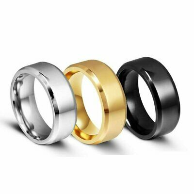 Jewellery - 8MM Stainless Steel Ring Band Black Men's SZ 6 to 12 Wedding Rings Man