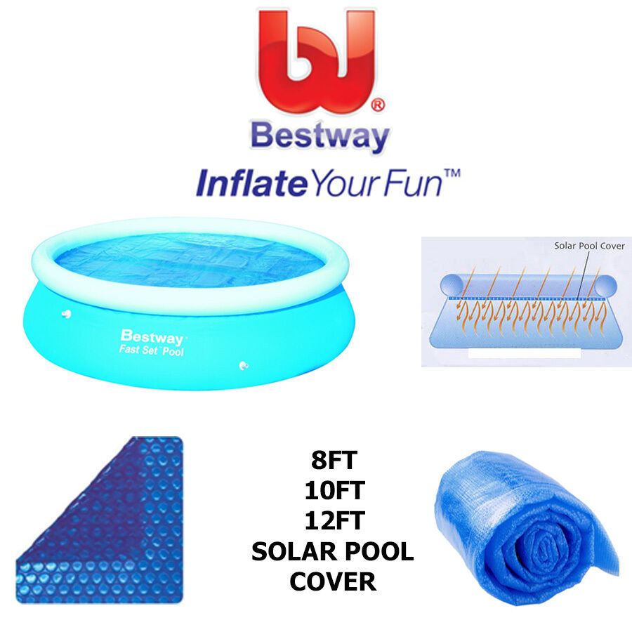 Bestway fast set easy set swimming pool solar cover helps heat that pool new ebay for 12ft solar swimming pool covers