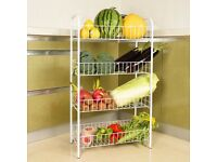 Vinsani 4 Tier All-Purpose Robust Steel Shelving Trolley Set