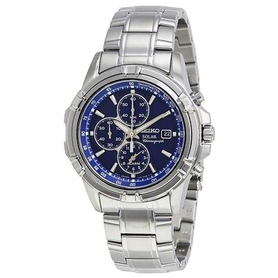 Seiko Solar Men's Blue Dial Chronograph Silver Tone Watch SSC141