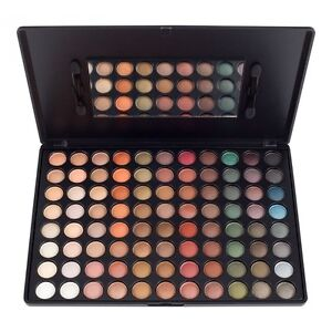 NEW 88 Warm Colors Matte Shimmer Eyeshadow Palette Makeup Kit Set + Brush Mirror