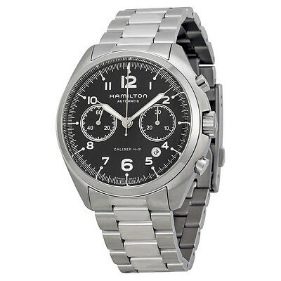 Hamilton Pilot Pioneer Automatic Chronograph  Black Dial Stainless Steel Mens