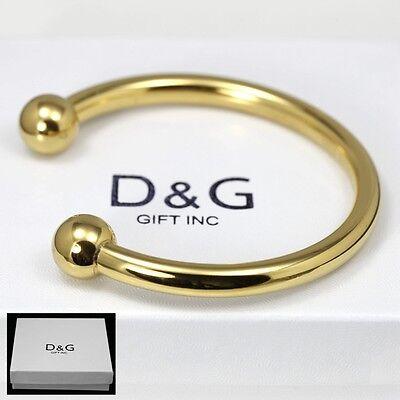 """DG Men's Stainless Steel Gold 7"""" Round Cuff Bracelet Unisex + Box"""