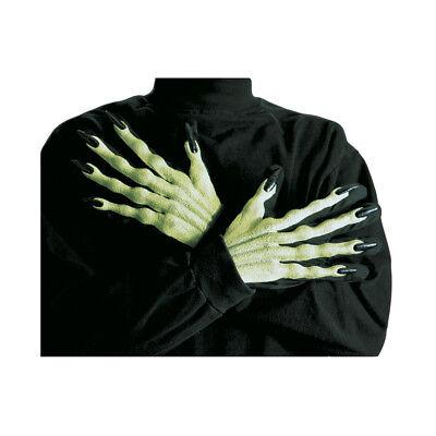 3D HEXEN HANDSCHUHE GRÜN Halloween Gnom Hexe Alien Troll grüne Hände Kostüm 8405 (Halloween Gnom Kostüm)