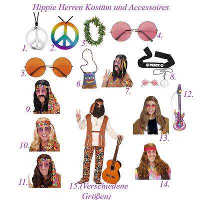 HIPPIE KOSTÜM HERREN # Karneval Party Kette Stirnband Brille Perücke Tasche - Kostüm Party Band