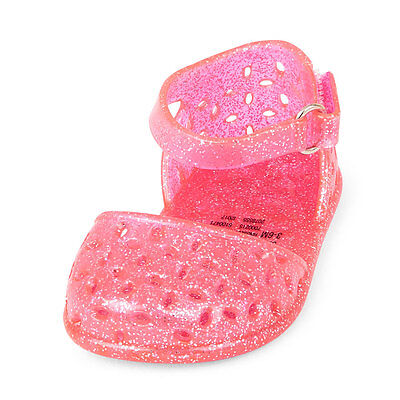 NWT The Childrens Place Baby Girl Pink Floral Cutout Glitter Jelly Sandals Shoes