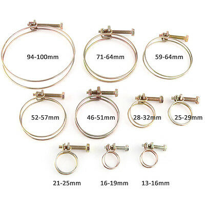 10x Double Wire Hose Clamp Pipe Clip Screw Bolt Tight Fitting Classic Type Zinc Hose Clamp Wire Type