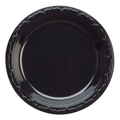 6 Black Plastic Plates -genpak- Silhouette Round 125count
