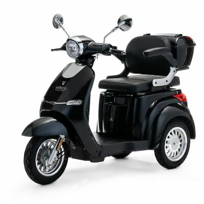 VELECO Cristal 3 Wheeled ELECTRIC MOBILITY SCOOTER 1000W BLACK