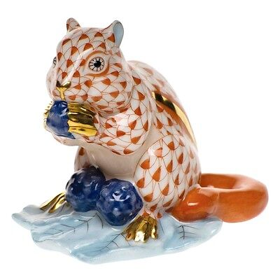 HEREND, CHIPMUNK with BERRIES PORCELAIN FIGURINE, RUST FISHNET, FLAWLESS, $445