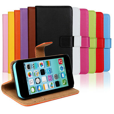 Best For iPhone 5C Genuine Leather Wallet Case Phone Cover Protector