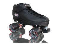 Riedell R3 Black Derby Roller Quad Skates (ladies UK size 8)