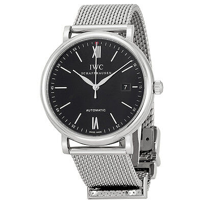 IWC Portofino Black Dial Stainless Steel Mens Watch IW356506