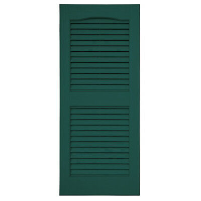 Severe Weather 2-Pack Green Louvered Vinyl Exterior Shutters 15x35