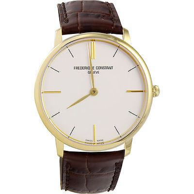 Frederique Constant Slimline White Dial Gold plated Men's Watch FC-200V5S35