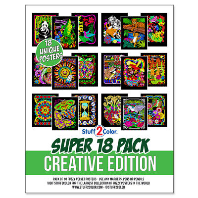 Super Pack of 18 Fuzzy Velvet 8x10 Inch Posters  (Creative Edition) - Velvet Coloring Posters