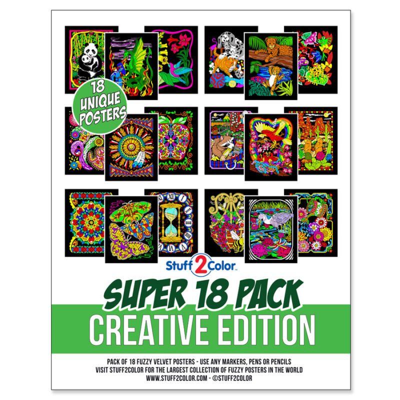 Super Pack of 18 Fuzzy Velvet 8x10 Inch Posters  (Creative Edition) Stuff2Color
