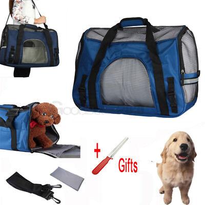 Pet Carrier Soft Sided Large Cat / Dog Comfort Mineral Blue Bag Travel Approved