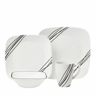 CORELLE Squares Simple Sketch 16 Pc Set Dinnerware Kitchen Dishes Square Plates