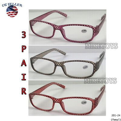 READING GLASSES LENS 3, PACK LOT CLASSIC READER Multi COLOR WOMEN (Color Circle Lenses)