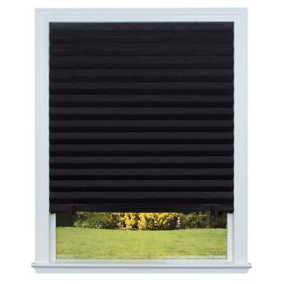 Redi Shade Black Blackout Pleated Paper Room Darkening UV Protection Durable Fit Redi Shade Room
