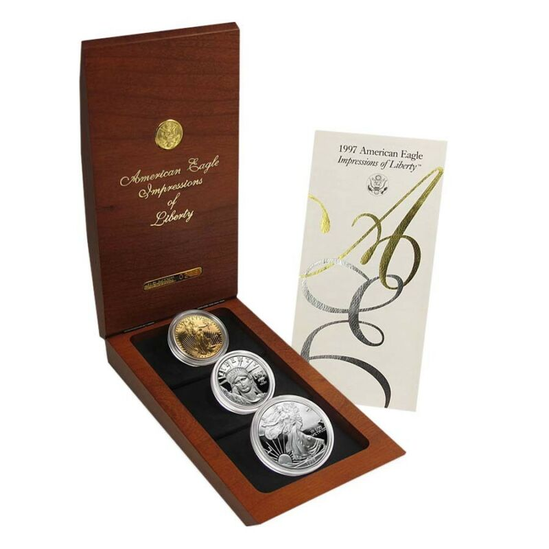 1997 3-coin Proof Impressions Of Liberty Set (signed W/box&coa)