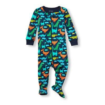 NWT The Childrens Place Dinosaur Boy Footed Stretchie Pajamas Sleeper 2T 3T 4T 5