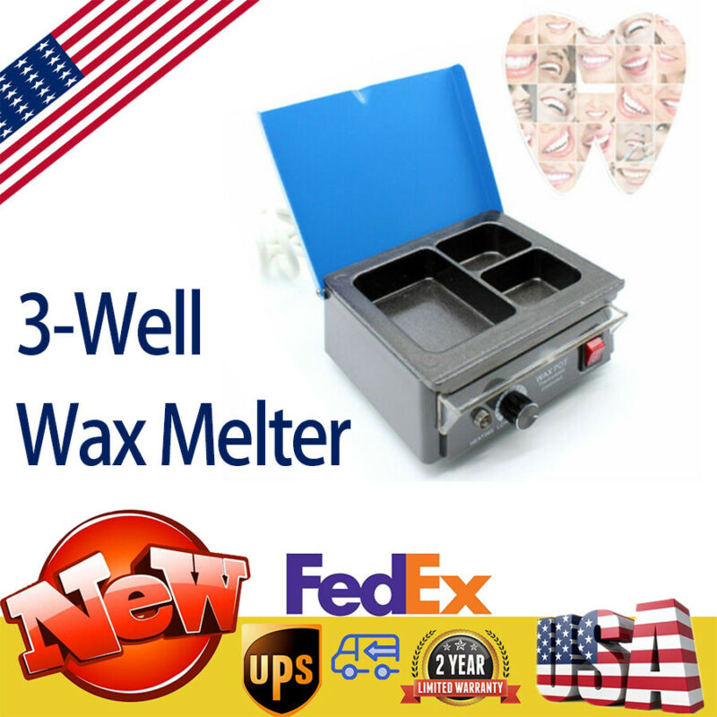 Dental Electric Analog Paraffin Heater 3-Well Paraffin Melting Dipping Pot USA
