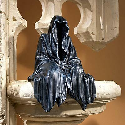 Death is Meditating Grim Reaper Hooded Figure Negative Space Shelf Sculpture