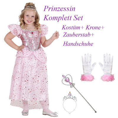 PRINZESSIN KOSTÜM SET KINDER Karneval Fasching Kleid Krone Stab Handschuhe  - Rosa Kostüm Handschuhe