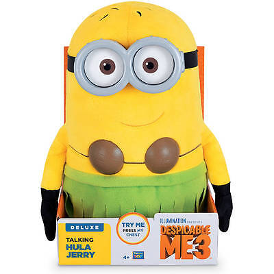 Jerry Minion Despicable Me (NEW! Minions Despicable Me 3 Deluxe Talking Huggable Hula Jerry Plush)