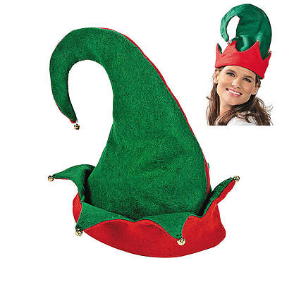 Elf Hat - Red Green Felt Holiday Christmas Santa Party Cap with Bells - NEW