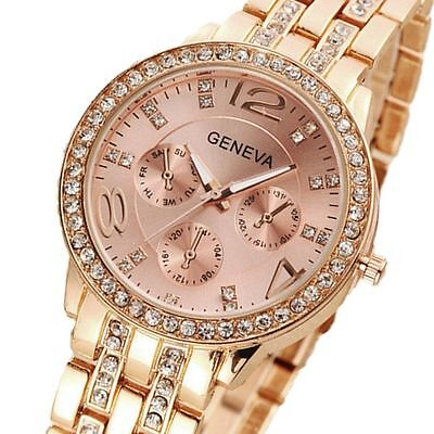 New Women's Fashion Stainless Steel Bracelet Crystal Analog Quartz Wrist Watch Analog Stainless Steel Bracelet