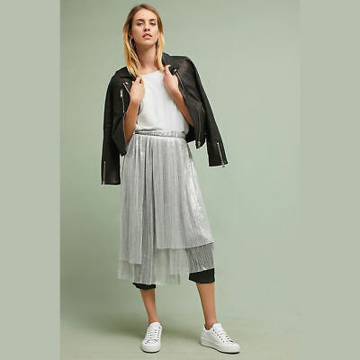 Anthropologie Maeve Womens Pants Size 12 Capri Crop Gray Silver Metallic Skirt