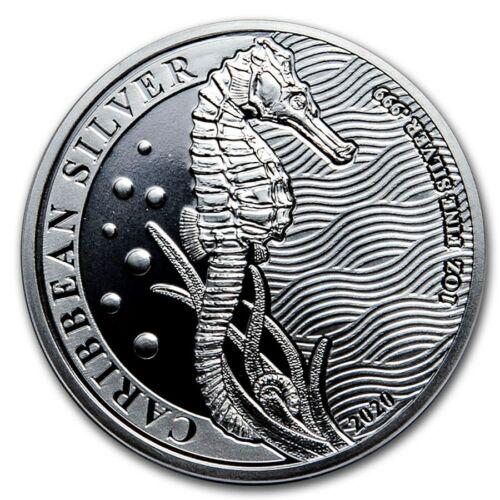 2020 Barbados Caribbean Seahorse 1 oz .999 Silver Round AG-47 BU Round Coin