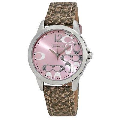 Coach Women's Boyfriend Signature Fabric Leather Pink Face Watch 14501621 $195