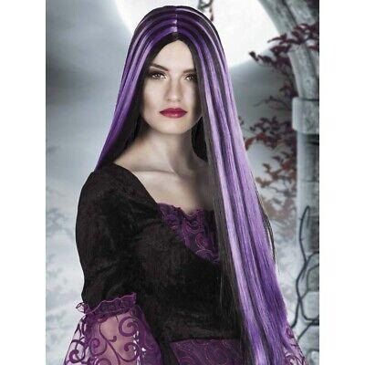 LILA SCHWARZE HEXEN PERÜCKE Halloween Hexenperücke Damen Vamp Kostüm Party 86080