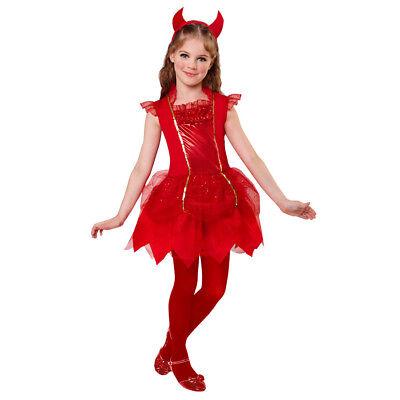 KINDER TEUFELIN KLEID & HÖRNER # Halloween Karneval Teufel Mädchen Kostüm 0746 ()