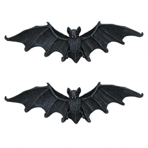 Set of 2: Gothic Medieval Vampire Bat Hooked Wall Hanger Sculpture