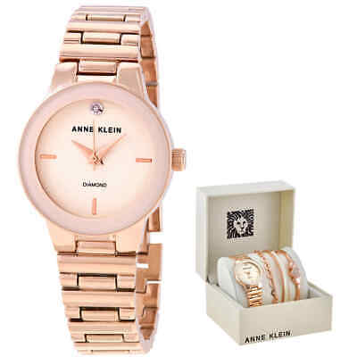 Anne Klein Quartz Ivory Dial Ladies Watch and Bracelet Set AK/3382IVST