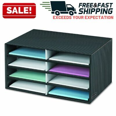 Stackable Letter Trays Office Desk File Organizer Document Holder 8 Compartment