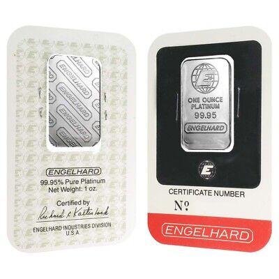 1 oz Engelhard Platinum Vintage Bar .9995 Fine (In Assay)
