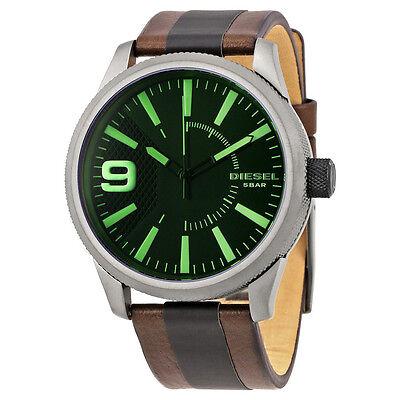 32dabb58326 Men s Diesel Rasp Timeframe Brown Leather Strap 46mm Watch NEW NWT