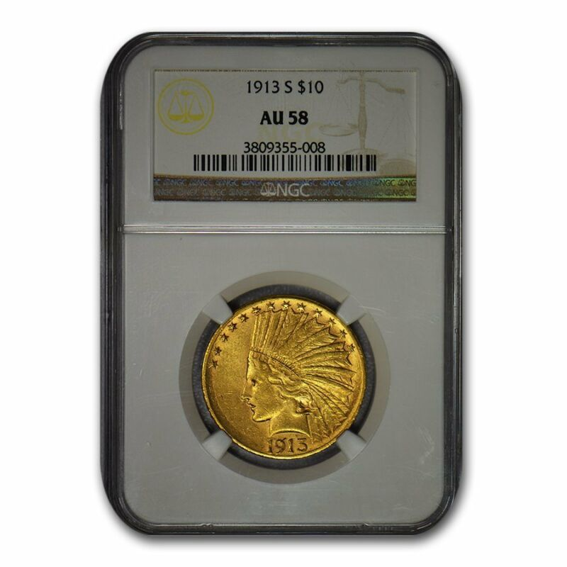 1913-S $10 Indian Gold Eagle AU-58 NGC - SKU#103618