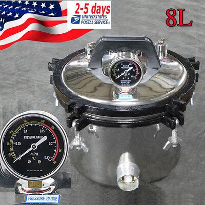 8l Portable Stainless Steel Dental Pressure Steam Sterilizer Dual Heatingusa
